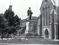 The statue of John Robert Godley, Cathedral Square, pictured in the Cathedral grounds [ca. 1930]