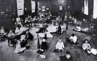 Photograph of The Montessori system in operation at the Sunbeam Kindergarten at St Albans [1915]