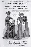 An advertisement for corsets sold by J. Ballantyne & Co., Christchurch and Timaru