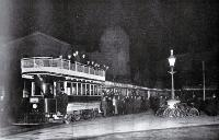 The Christchurch Tramway Company's opening of the Papanui line : the trial trip on midnight of Friday June 2nd : a photograph taken with a flash in Cathedral Square. [2 June 1905]