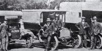 A section of a long photograph of vehicles used by the St John Ambulance Brigade as ambulances during the 1918 influenza epidemic