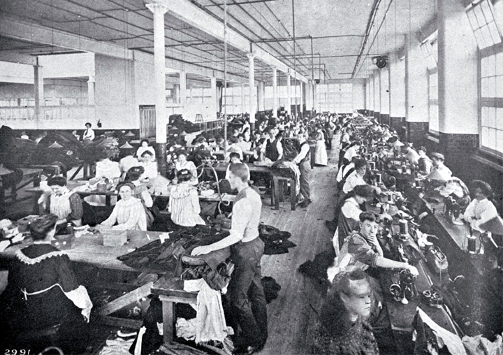 The interior of a clothing factory