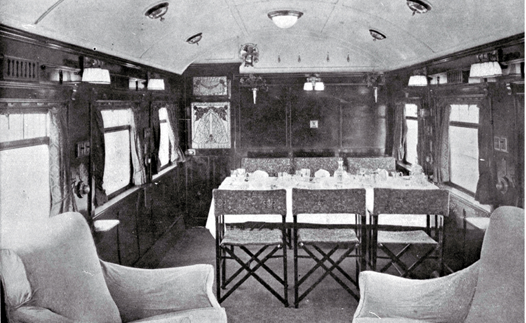Interior of a dining saloon of a Railways cruiser car