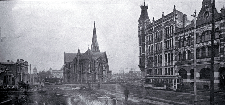 A view of Cathedral Square before the Government Buildings were erected