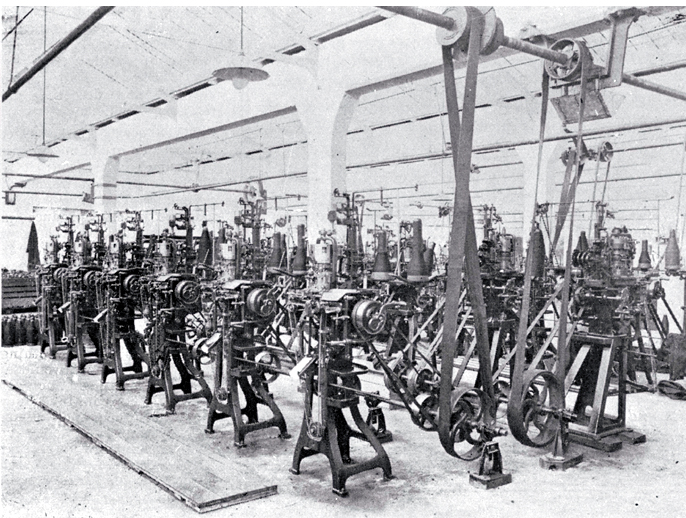 Knitting machines in a factory