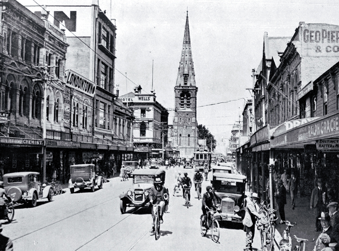 Colombo Street, Christchurch, looking south towards the Cathedral