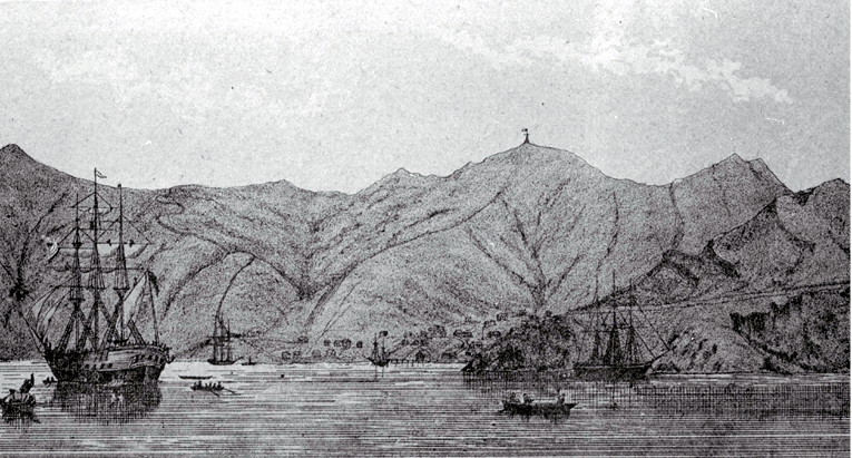 Port Lyttelton, showing Cressy just arriving, 27 December 1850