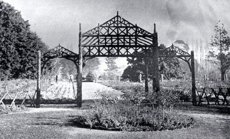 The entrance to the rose garden, Botanic Gardens (formerly Christchurch Domain) in its early stages