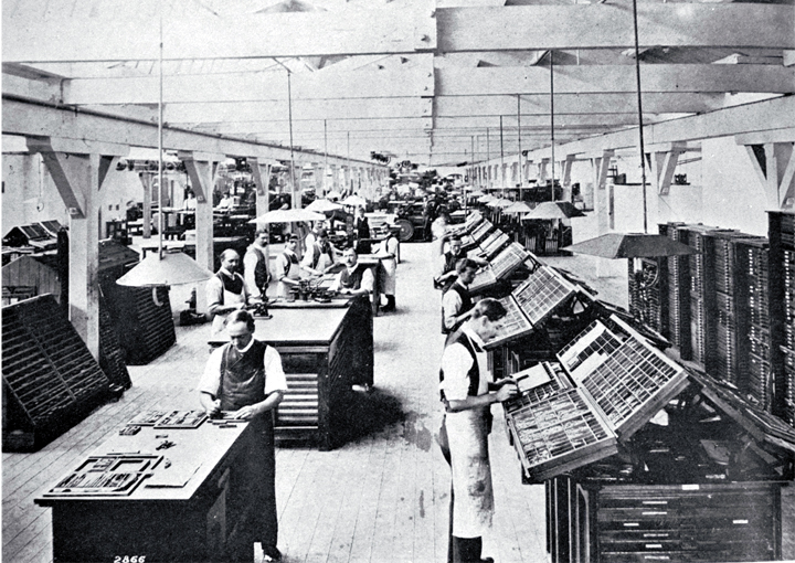 The composing room in a Christchurch printing office