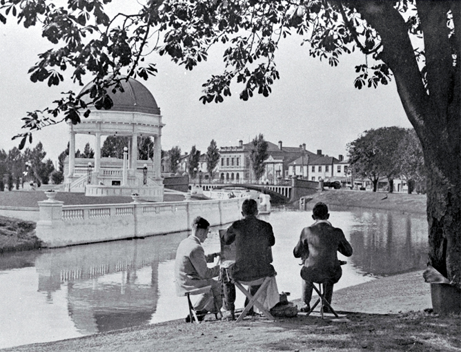 Sketching on the banks of the Avon, Oxford Terrace, near the Edmonds Rotunda, Christchurch