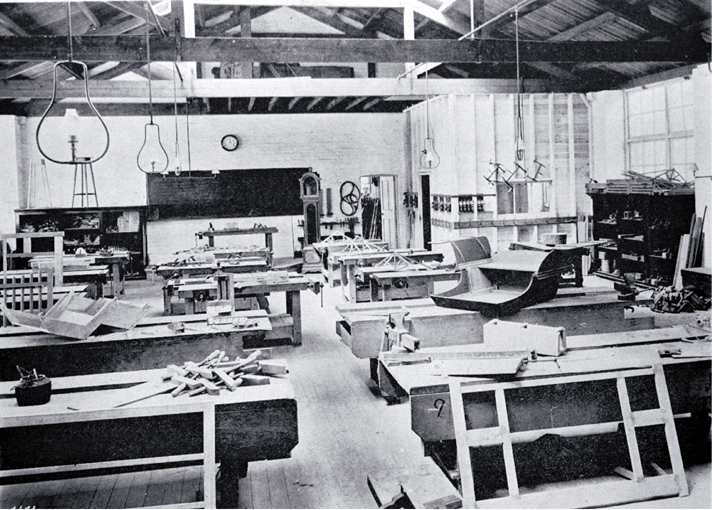 A carpentry workshop at the Christchurch Technical College