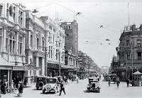 Cashel Street Christchurch, looking west toward the Bridge of Remembrance [1931]