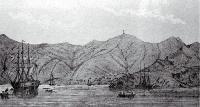 Port Lyttelton, showing Cressy just arriving, 27 December 1850 [1850]