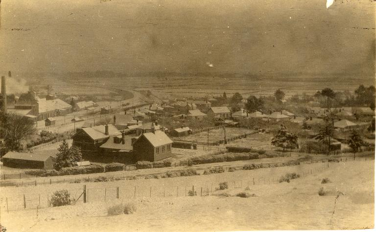 Heathcote Valley - snow - back of school - railway - Maltworks - Methodist Church in middle of photo