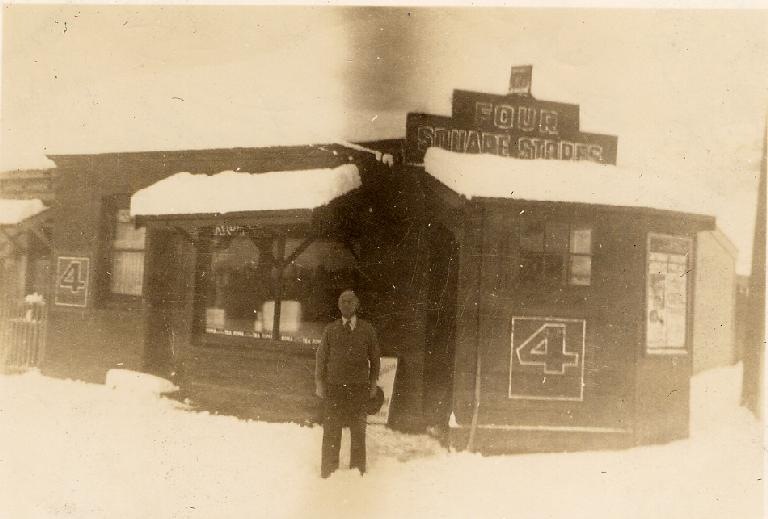 The Big Snow, [1945] - Mr Bettle outside his shop in Heathcote Valley, CCL PhotoCD Gimblett Collection Gimblett-0084