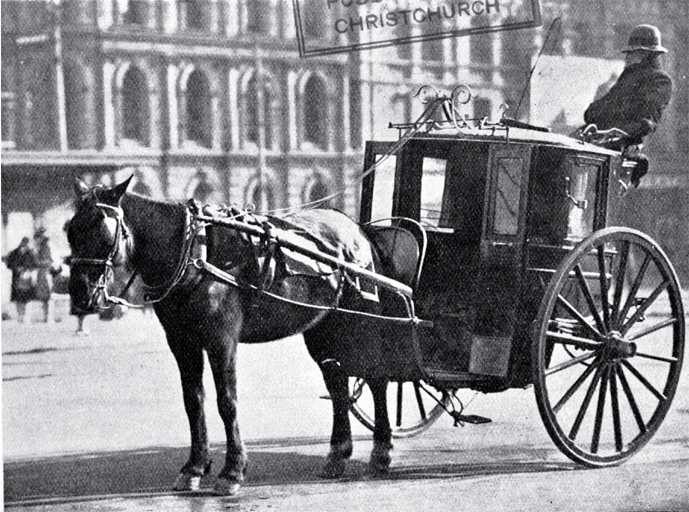 A hansom cab in Cathedral Square, Christchurch, waiting for ...