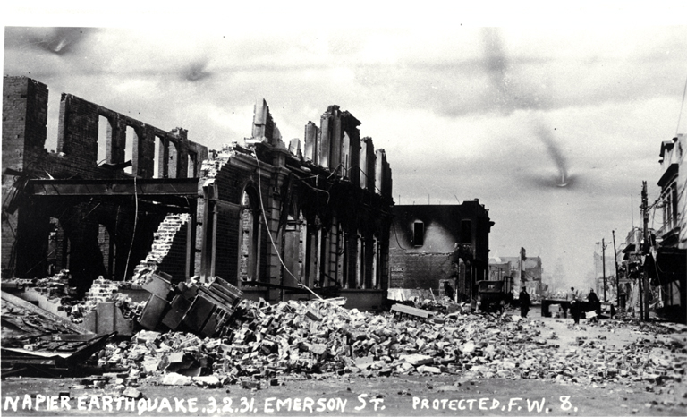 Emerson Street after the Napier earthquake