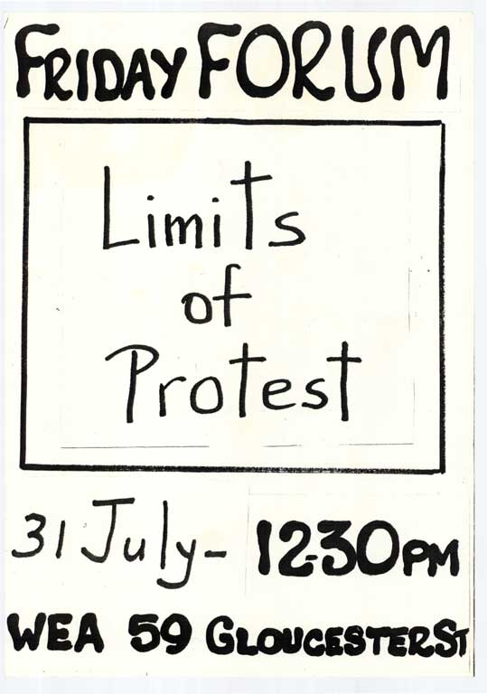 Friday Forum, Limits of Protest.