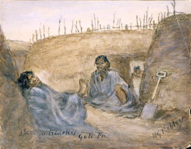 Robley, Horatio Gordon, 1840-1930. Robley, Horatio Gordon, 1840-1930 :Sketch in trenches, Gate Pa. 30 April 1864.. Ref: A-033-036. Alexander Turnbull Library, Wellington, New Zealand. http://natlib.govt.nz/records/22302109
