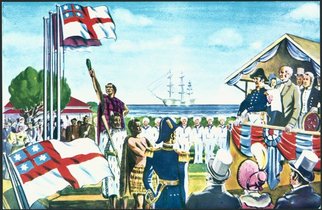 Shaw Savill Line postcard depicting the United Tribes Ensign. Falkner, Nancy Gaynor, 1930- : New Zealand flags and coats of arms. Ref: 82-419-01. Alexander Turnbull Library, Wellington, New Zealand.