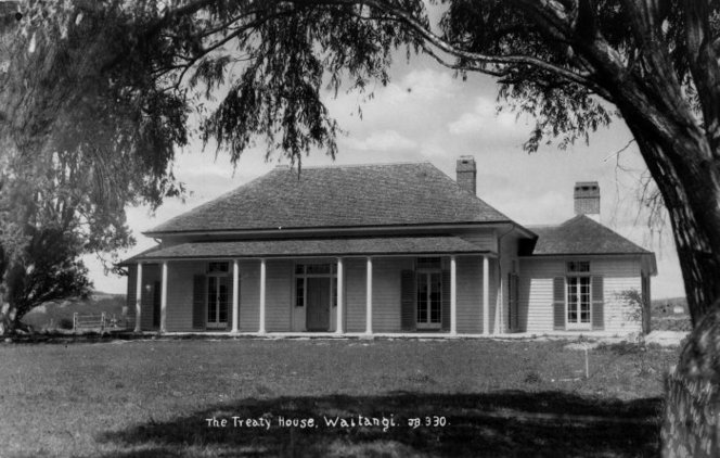 The Treaty House, Waitangi. Original photographic prints and postcards from file print collection, Box 1. Ref: PAColl-5471-017. Alexander Turnbull Library, Wellington, New Zealand. http://natlib.govt.nz/records/22907730