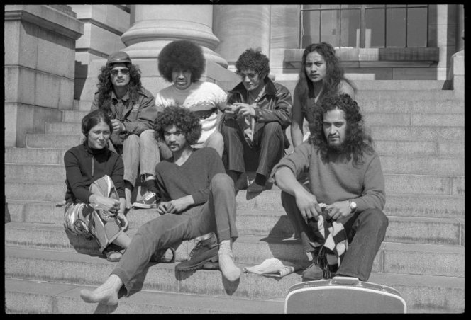 Group of young Maori on steps of Parliament. Further negatives of the Evening Post newspaper. Ref: EP/1972/5388/11a-F. Alexander Turnbull Library, Wellington, New Zealand. http://natlib.govt.nz/records/23069211