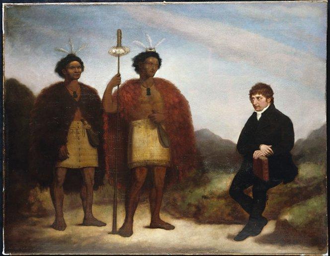 Barry, James, fl 1818-1846. Barry, James :[The Rev Thomas Kendall and the Maori chiefs Hongi and Waikato] 1820. Ref: G-618. Alexander Turnbull Library, Wellington, New Zealand. http://natlib.govt.nz/records/23241174