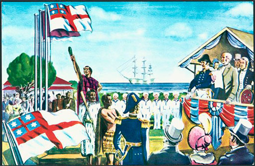 Shaw Savill Line postcard depicting the United Tribes Ensign.