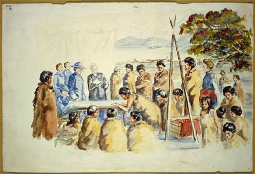 Artist unknown [Reconstruction of the signing of the Treaty of Waitangi. ca 1940]