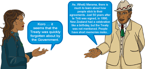 Whetu: 'Koro … it seems that the Treaty was quickly forgotten about by the Government.' Koro: 'Ae, Whetū Marama, there is much to learn about how people stick to their agreements. Just 50 years after te Tiriti was signed — in 1890, — New Zealand had a celebration. It was like a birthday celebration, but the Treaty was not mentioned. People have short memories moko.'