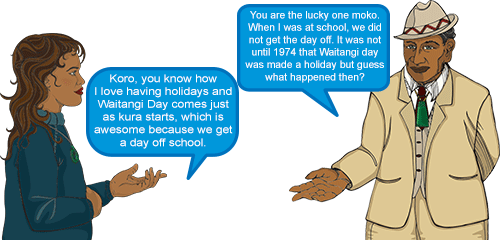 Whetu: 'Koro, you know how I love having holidays and Waitangi Day comes just as kura starts, which is awesome because we get a day off school.' Koro: 'You are the lucky one moko. When I was at school, we did not get the day off. It was not until 1974 that Waitangi day was made a holiday but guess what happened then?'
