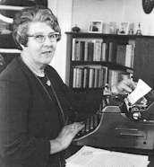 Essie at her typewriter