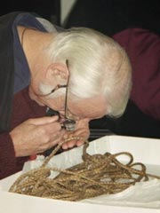 Ti cord being examined at the Canterbury museum