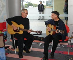 Hugh Campbell (left) and John Hooker (right) playing at a library