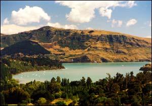 Purau Bay viewed from the road to Koukourarata
