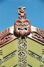 Te Aritaua Pitama, carving detail: Tekoteko is the ancestor Ngahue.