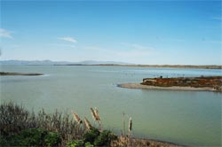 Te Waihora, Kaitorete Spit and Horomaka viewed from Fishermans Point, Taumutu.