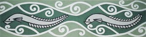 Stylised tuna featured on the walls of the Wharekai, Ngati Moki Marae