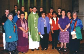 OMWWL Members in the Cathedral of the Blessed Sacrament with Bishop Takuira, 2002.