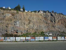 Damaged cliffs, Sumner, photo by Tarlin Stirling, March 2013