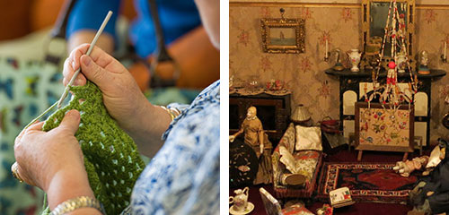 CRocheting at the library and Dolls House at Museum
