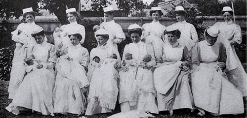 A group of St. Helen's nurses with their charges [ca. 1910]