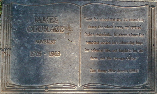 Plaque commemorating James Courage, with quote from The Young Have Secret Lives