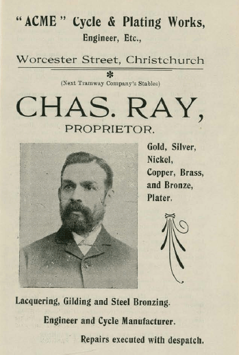 Image of Chas. Ray, Proprietor, ACME Cycle & Plating Works