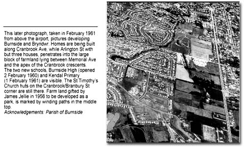This later photograph, taken in February 1961 from the airport, pictures developing Burnside and Bryndwr