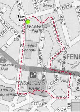 Map of Fendalton Local History Walk No 1