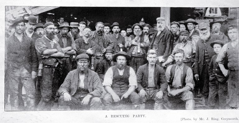A rescuing party, Brunner mining disaster