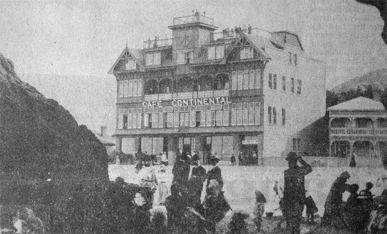 The Cafe Continental [between 1906 and 1909] Opened on 1 Sept. 1906, this was a 43-bedroom private hotel opposite Cave Rock on the Esplanade with tearooms on the ground floor. On 13 June 1909 it was extensively damaged by fire and never replaced View more information File Reference CCL Photo Collection 22, Img01266