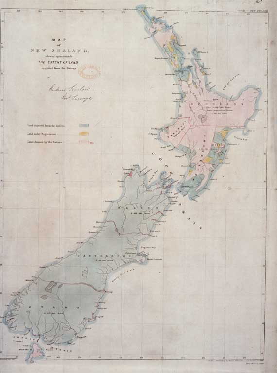 New Zealand Maori Map.Map Of New Zealand Showing The Extent Of Land Acquired From The