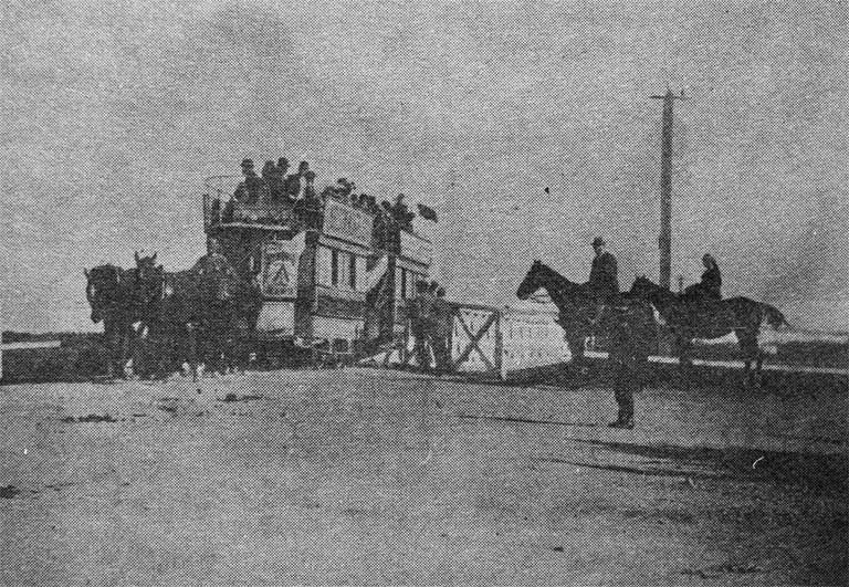 A double-decker horse tram crossing the original Seaview Road bridge on the way to Christchurch